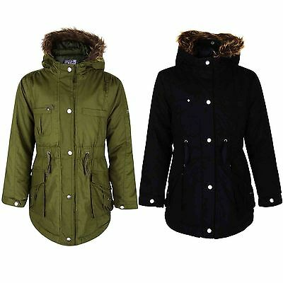 Girls Parka Jacket Kids Padded Faux Fur Trim Hooded Coat Age 3-13 Years