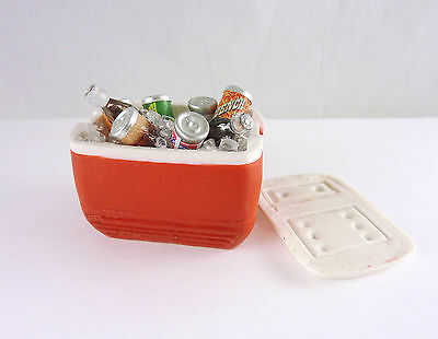 Closeout! Dollhouse Miniature Artisan RED Picnic Cooler Full of Drinks