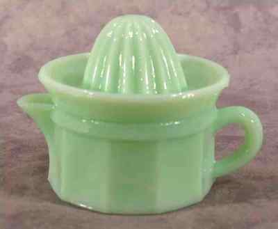 Jadeite Green Glass 2 Pc. Juice Reamer & 4 Ounce Juicer Cup Set ~Column Design ~