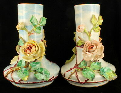 Antique Victorian French Barbotine Majolica Floral Gilded Large Vases Pair