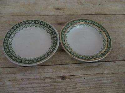 J1 Antique Staffordshire Butter Pats Green Ivy Border
