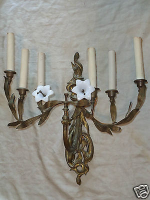 ANTIQUE FRENCH 19thC ART NOUVEAU CANDELABRA METAL FLORAL GLASS WALL LIGHT SCONCE
