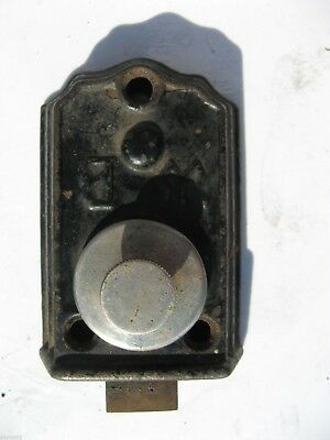 Antique WB Dead Bolt, Cast Iron and Nickle Plated, 19th Century Door Hardware
