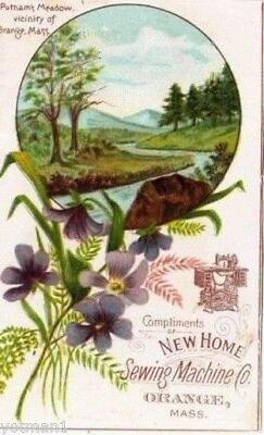 New Home Sewing Machine Co, Putnam's Meadow, Victorian Trade Card