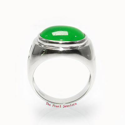 Beautiful 11x15mm Cabochon Green Jade Ring in Solid Sterling Silver .925 - TPJ