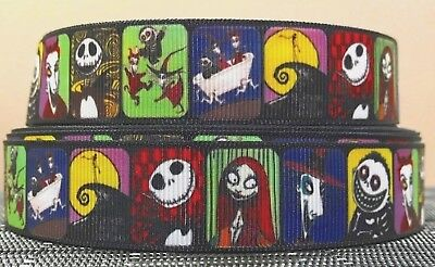 22mm wide - NIGHTMARE BEFORE CHRISTMAS GROSGRAIN RIBBON - 1 YARD