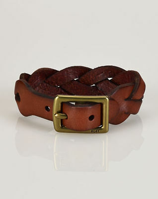 Mens POLO-RALPH LAUREN Brown Braided Leather Wrist Strap/ wristband
