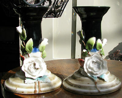Stunning Pair Victorian Porcelain Candle Sticks Applied Roses