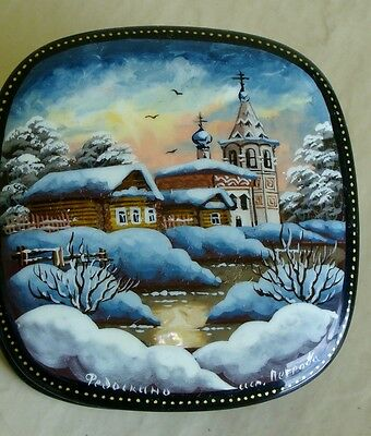 Russian traditional lacquered hand finished black red box winter village church