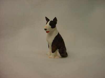 BULL TERRIER dog TiNY FIGURINE brindle puppy HAND PAINTED MINIATURE Resin Statue