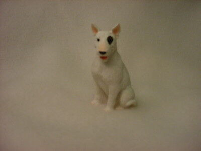 BULL TERRIER dog TiNY FIGURINE white puppy HAND PAINTED MINIATURE mini Statue