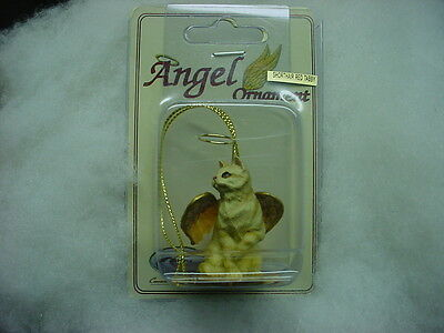 RED TABBY CAT ANGEL Ornament Figurine NEW Orange Striped kitty kitten Christmas