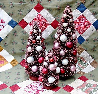 Set of 3 Cranberry Red Christmas Bottle Brush Trees Loaded with Ornaments