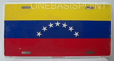 Venezuela Flag Vanity License Plate 7 Stars Metal Aluminum Embossed Sign Car Tag