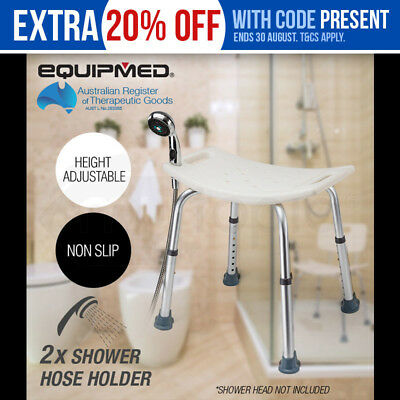 NEW Equipmed Shower Chair Stool Adjustable Bath Aid Seat Bench 100kg