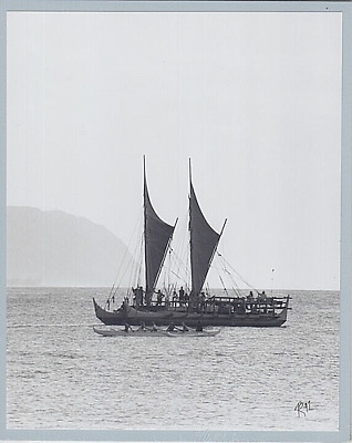 Hokulea Hawaiian Sailing Canoe '97 Haleiwa Harbor Hand Printed Photo On 8X10 Mat