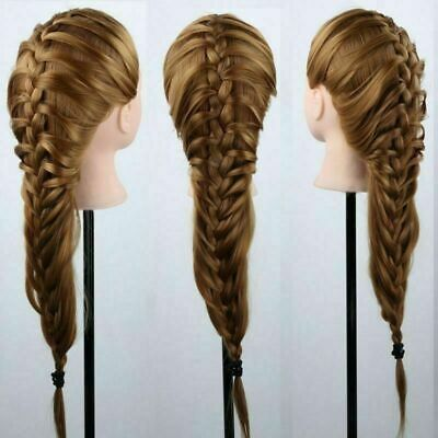 AU 100% Real Human Hair Cosmetology Hairdressing Training Head Mannequin & Clamp