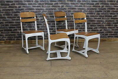 Set Of 6 Industrial Style White Frame Eton Dining Chairs Cafe Restaurant Seating