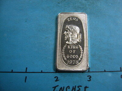 Zeus King Of Gods 1973 Vintage Great Lakes Mint 999 Silver Bar Rare Awesome Item