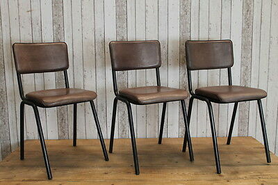 Set Of 6 Retro Vintage Inspired Chelmsford Clay Leather Stacking Chairs