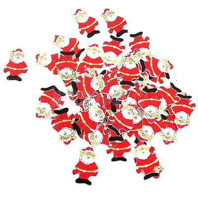 50pcs Wooden Santa Claus Christmas Tree Ornaments Window Wall DIY Decoration