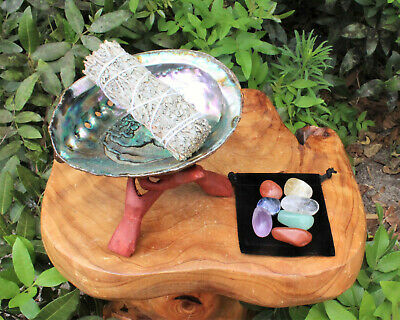 Abalone Shell, Stand, White Sage Smudge Stick, 7 Chakra Crystals & Directions
