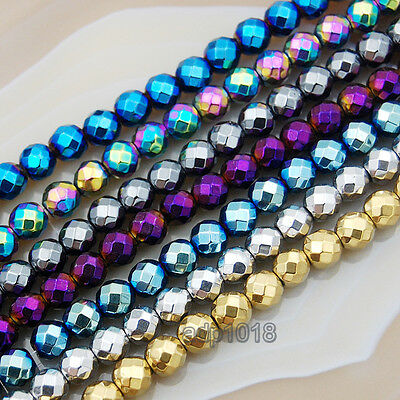 """Natural Faceted Hematite Gemstone Round Beads 16""""2mm 3mm 4mm 6mm 8mm 10mm"""