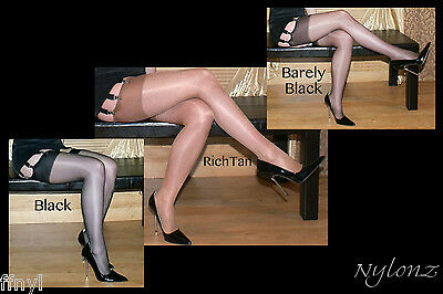 3 pairs NYLONZ Gloss Shine Stockings MIXED COLOUR PACK