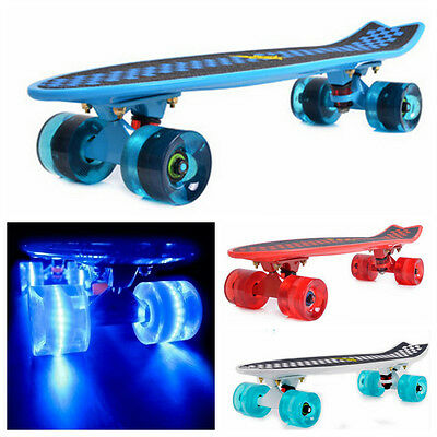 "4PCS LED Light Up Skateboard Longboard Wheels 60x45mm Colorful For Penny 22"" FEZ"