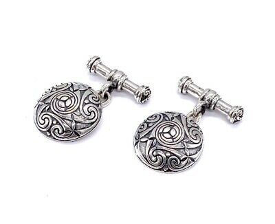 925 Sterling Silver Celtic Infinity Knot Chain T Bar Round Circle Cufflinks