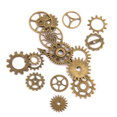 17pcs Bronze Watch Parts STEAMPUNK CYBERPUNNK COGS GEARS DIY JEWELRY CRAFT