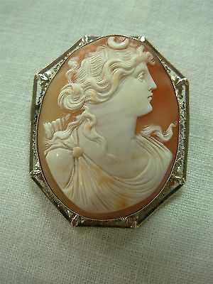 Antique 14K Yellow Gold Filigree Carved Cameo Diana Goddess Brooch Pin Pendant