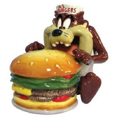 Looney Tunes Taz Eating a Burger Ceramic Salt and Pepper Shakers Set, NEW UNUSED