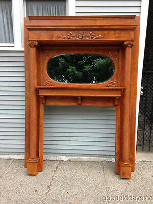 Antique Carved Fireplace Mantel Oval Mirror Professional Refinished circa.1900