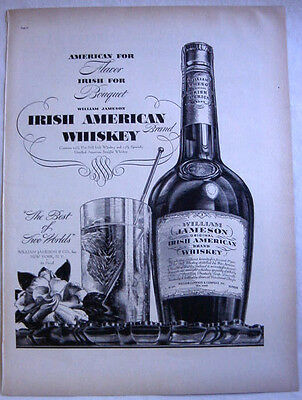 1937 William Jameson Original Irish American Brand Whiskey Art Print Ad