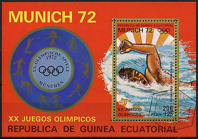 Equatorial Guinea 1972 Olympic Games, Swimming Cto Used M/S #A92637