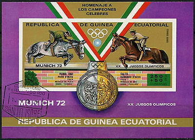 Equatorial Guinea 1972 Olympic Games, Horses Cto Used Imperf M/S #A92629