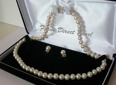 18 Inch set AAAA+ 7-7.5mm White Pearl Necklace Earring SILVER Genuine Freshwater