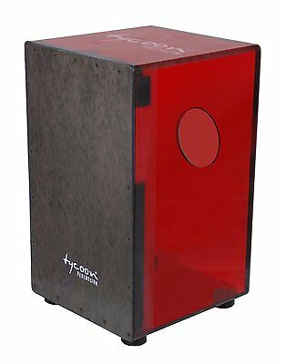 Tycoon 29 Series Cherry Red Acrylic Cajon with Black Makah Burl Front Plate