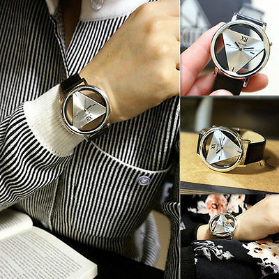 Fashion Leather Band Stainless Steel Casual Analog Quartz Women Mens Wrist Watch
