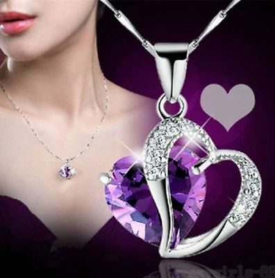 Fashion Womens Heart Crystal Rhinestone Silver Chain Pendant Necklace Jewelry