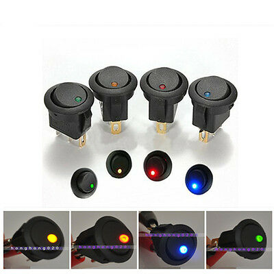 1/4/20 pcs 12V LED Coche Barco ON/OFF Toggle SPST Interruptor Indicador