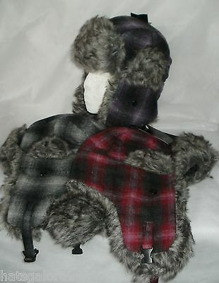 Womens trapper hat LARGE CHECK FAUX FUR TRIM PURPLE PINK OR GREY 57/58  (819)
