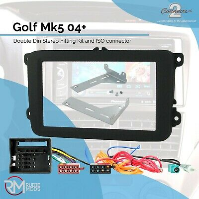 VW Golf Mk5 04 on Double Din Stereo Facia Fitting Kit Panel ISO wiring Aerial