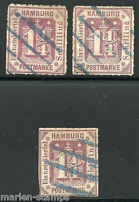 German States Hamburg Sc#24, Michel#20  Used  Lot Of Three  Faulty
