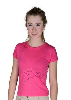 Loveson Childs T-Shirt - Pony Horse Diamante Pink - S,m,l  7/8 9/10 11/12 Years