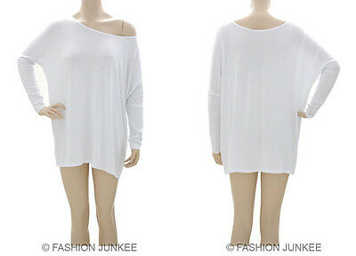 553f7ddb435 C2 WHITE BOXY TOP Off the Shoulder Loose Shirt Long Sleeve PLUS SIZE 1XL  2XL 3XL