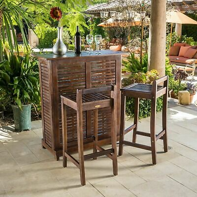 Outdoor Patio Furniture 3pc Mahogany Stained Wood Bar Stool Bar Set
