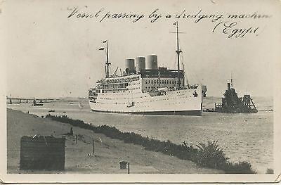 Postcard / Paquebot / Vessel Passing By A Dredging Machin Egypt / Egypte