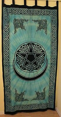 Pagan Pentacle Moon Curtain Colorful Wall Hanging Cotton #CT68TR